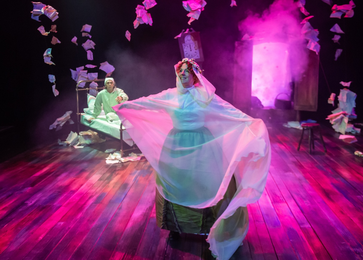 Steven Elliott as Scrooge and Amy Drake as The Ghost of Christmas Present. A Christmas Carol ...